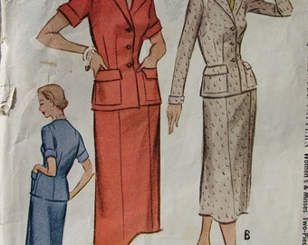 Fabulous Vintage 50's Misses' TWO-PIECE SUIT Dress