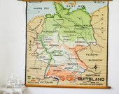 Rare Vintage Pull Down Map, Germany, Hand Painted School Chart