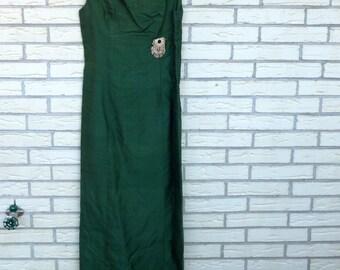 1960s Formal Gown Full Length Overcoat Emerald Green Prom Dress Womens Vintage Medium