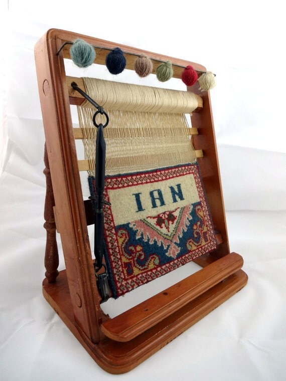 Vintage Miniature Table Weaving Loom With Small Hand Crafted