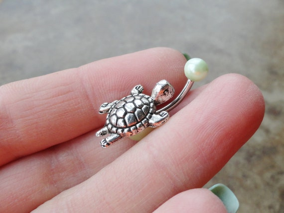 Belly Button Rings Silver Turtle Belly Button Jewelry Light