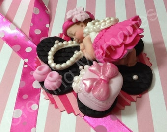 Baby Girl and Pearls/Edible Cake Toppers Made of Vanilla Fondant and gumpaste, BABY SHOWER, First Birthday boy or girl, Christening,Supplies