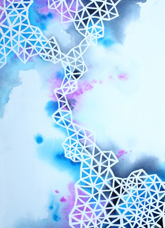 IN BETWEEN abstract geometric watercolor art print in blue and purple