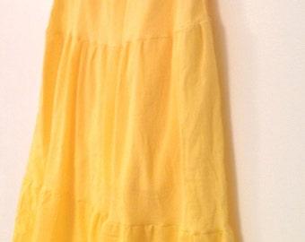 Long Tiered Boho Skirt - Hippie Yellow Summer Cotton Gauze Skirt