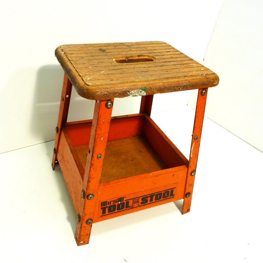 Orange Steel Industrial Stool Painted Metal Hirsh Tool Stool