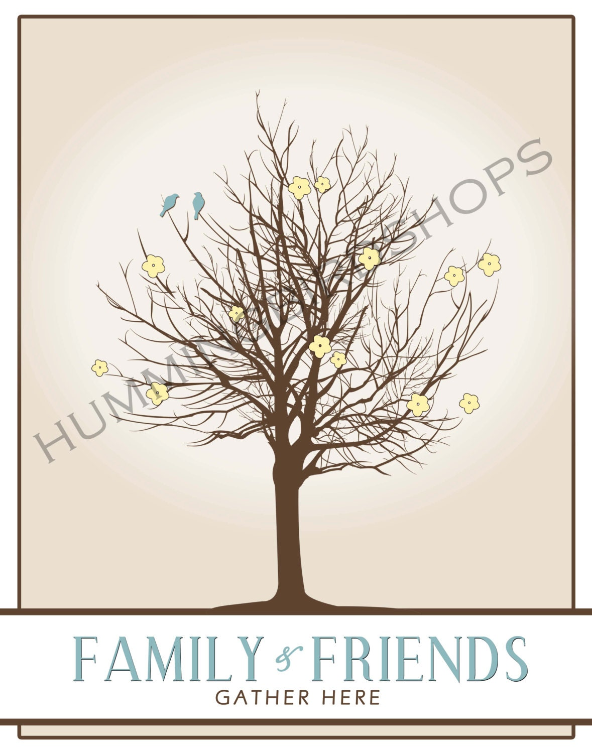 fingerprint tree for baby shower wedding party etc by elleandpark