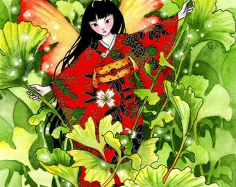"Fairy Art Print 8x10 Fantasy Faerie Print ""Young Ginkgo"""