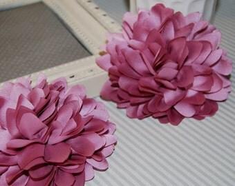 Dusty Rose Mauve Pink Fabric flower (1 pc) - 4''  large silk fabric flower - flat back  Dahlia Silk Flower Dusty Pink Mauve Flowers