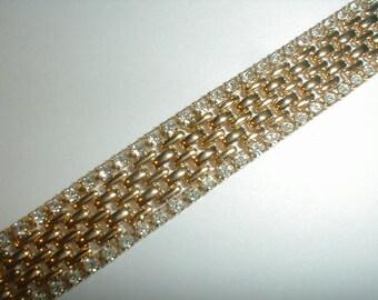 kjl gold plated mesh prong set clear crystals bracelet