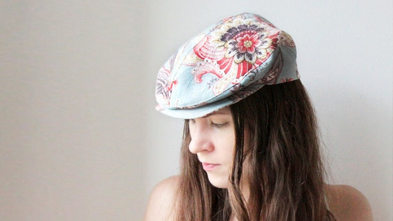 Womens flat cap - Newsboy hat - Floral - Casual chic