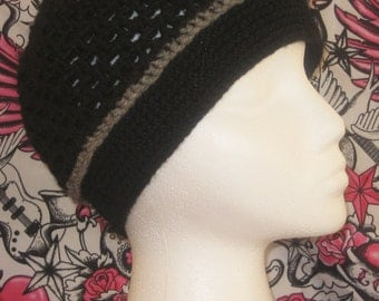 Crochet hat beanie in black with grey ribbing made to fit teens and adults