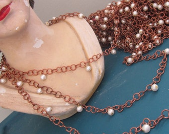 One And A Half Yards Vintage Metal  Chain With Hanging Pearls