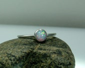 Opal Ring, Sterling Silver Ring, Thin Delicate Ring, 6 mm Opal, Sweetheart Jewelry, Gift for Her, Stacking Ring