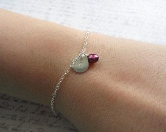 Initial Bracelet, Personalized Bracelet, Pearl Bracelet, Monogramme Bracelet, Swedish Jewelry Design, Made In Sweden