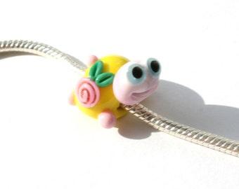 Lampwork big hole beads fits bracelet-handmade glass large hole beads-turtle with  flower bead