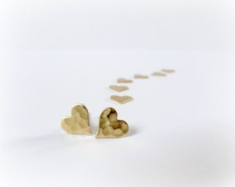 Golden Hearts - small post earrings - tiny Raw Brass gold studs gift for her Valentine idea everyday jewelry