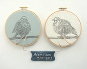 Wedding Embroidery Hoop Art - Woodblock Print of Doves