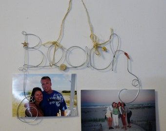 Beach Theme Hanging Photo Holder, Wire Word Picture Frame with Shell Decorations, Starfish, Twine, Sea Shore Beach House Decoration