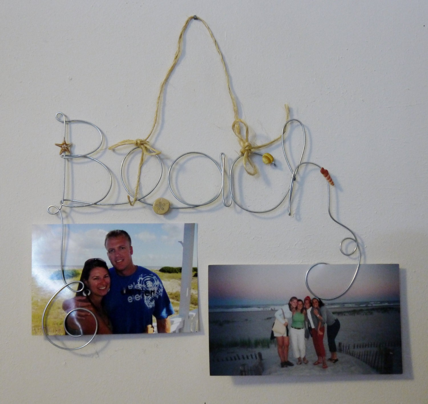 beach theme hanging photo holder wire word picture frame with