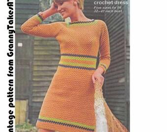 Boho Mini Dress 1960s VINTAGE CROCHET PATTERN- Mod/Hipster Stripe A-line Dress, Mary Quant/Twiggy, Instant Pdf from GrannyTakesATrip 0025