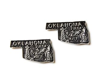 Oklahoma Cufflinks - Gifts for Men - Anniversary Gift - Handmade - Gift Box Included