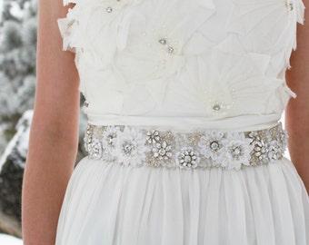VERONICA - Rhinestone Beaded Bridal Sash, Wedding Belt