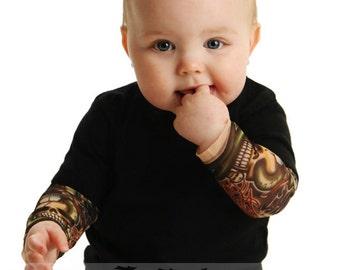 Baby Tattoo Sleeve Shirt - Punk Baby Clothes - Tattoo Onesie - Black Bodysuit Onesie Born to Be Wild Tattoo Sleeve Shirt for Babies