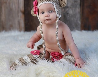 Tan Monkey Crocheted Hat, Diaper Cover and Leg Warmers - Photo Prop Set - Available in Newborn to 12 Months