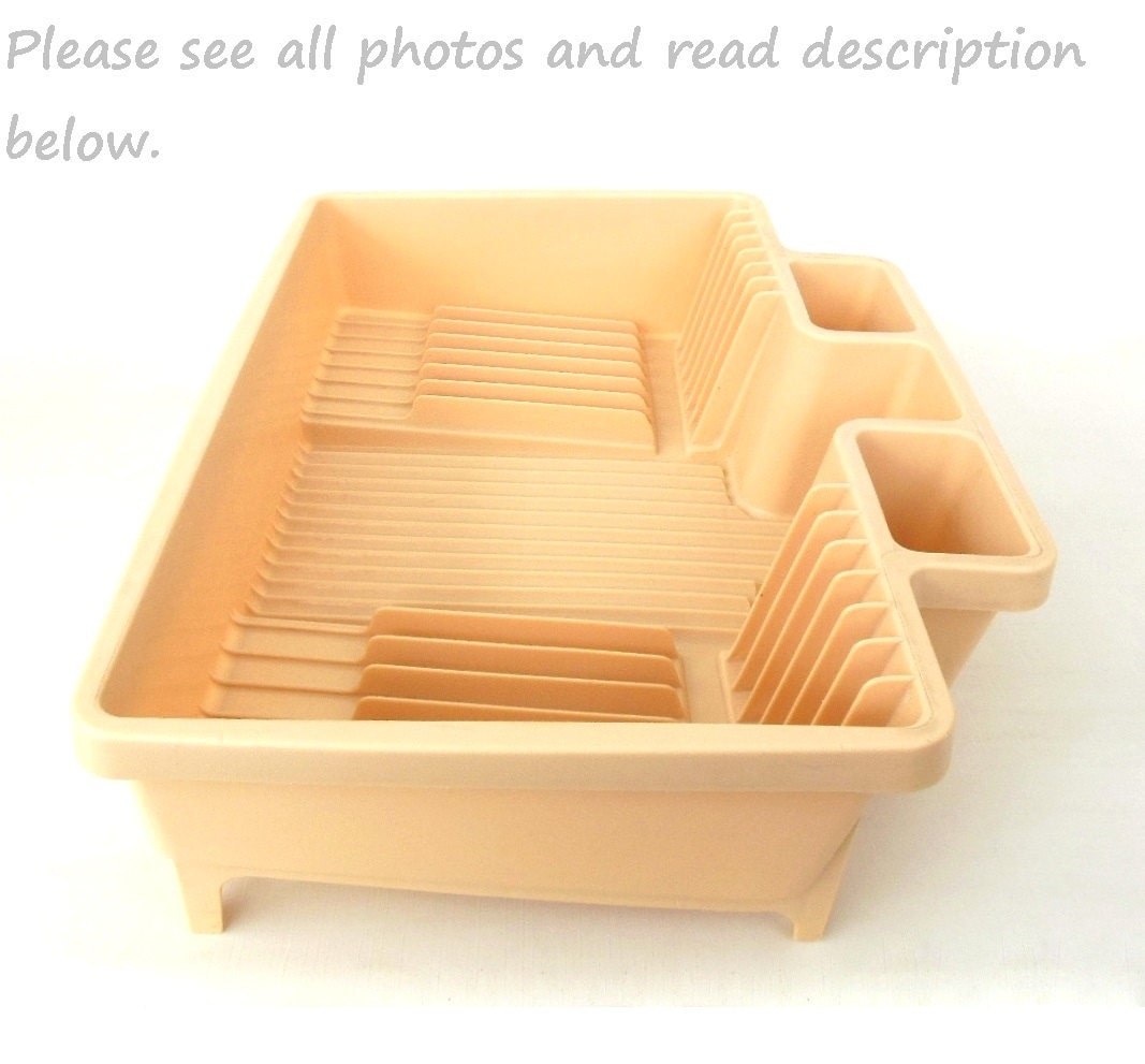 Rubbermaid Dish Dry Rack Side Drain Beige 1980s By