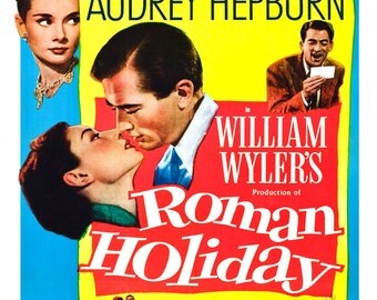 "Roman Holiday - Home Theater Media Room Decor - Romance Classic - Movie Poster Print - 13""x19"" or 24""x36"" - Audrey Hepburn - Gregory Peck"