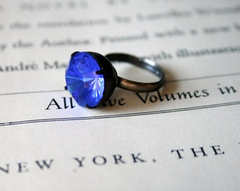 Clearance - Vintage Sapphire Glass Jewel Ring, Czech Glass, Oxidized Brass, Deep Blue, Estate Style Ring