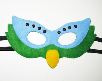 Parrot Felt Mask for kids adults - Green Blue Yellow - handmade bird costume - for boys girls - Dress Up play accessory - Theatre roleplay