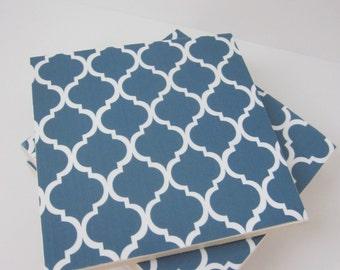 Navy Blue and White Quatrefoil Lattice Tile Coasters-Morracan Trellis Coasters