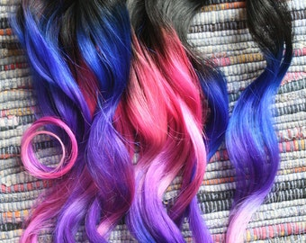 Ombre hair extensions electric light purple pink and blue ombre hair extensions electric light purple pink and blue hair human hair pmusecretfo Images