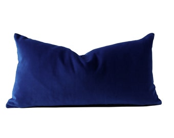 Royal Blue Medium Weight Cotton Velvet- 10x20 TO 12x24 Decorative Bolster Pillow Cover- Invisible Zipper Closure- Knife Or Pipping Edge
