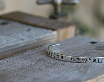Hand Stamped Sterling Silver Cuff Bracelet