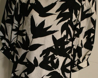 Flora Kung Special Edition Vintage black and white floral Silk Dress 1980s