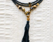 For Lynn - Mala Bead Inspired tigers eye black beaded necklace