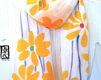 Silk Scarf Handpainted, Handmade silk scarf, Silk Scarves Takuyo, Orange Daisy May Scarf, 8x54 inches. Made to order.