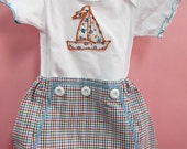 Baby Boy Shorts Set Tee with Sailboat Applique