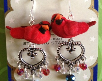 Cardinal Bird Baseball Earrings