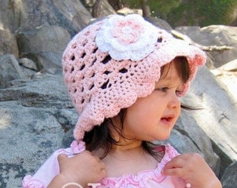 PATTERN Scalloped Edge Sun Hat Crochet PDF - Instructions to make super cute easy girls hats - Instant Digital Download