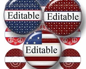 Editable Bottle Cap Images, Patriotic, Americana, Digital Collage Sheet, 1 Inch Circles, No.1, Cupcake Toppers, Magnets, Pendants Bottle Cap