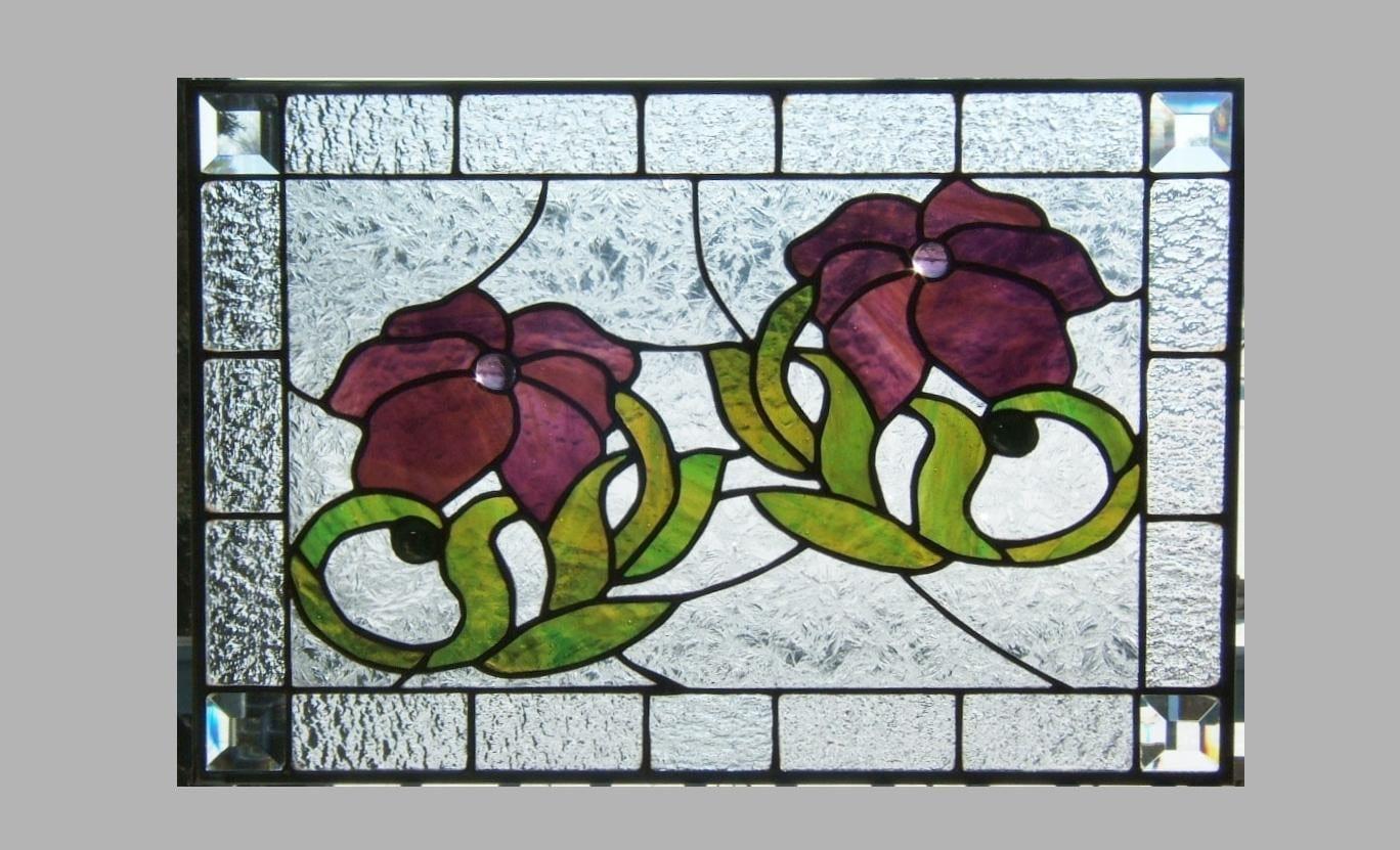 Beveled stained glass window panel art nouveau purple flower for Art glass windows