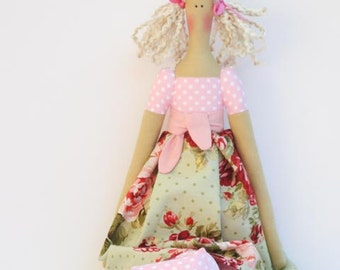 Fabric doll cute stuffed doll pink green polka dot rose blonde cloth doll rag doll - cute stuffed doll gift for girls