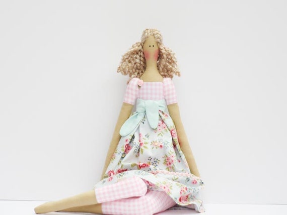 Reserved for Ira Fabric doll blonde cloth doll pale blue pink rose art doll cute stuffed doll rag doll