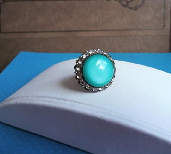 Blue Rhinestone Ring Vintage Adjustable