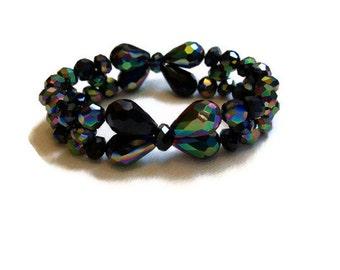 Crystal Bow Bracelet Black Aurora Borealis Crystals