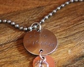 Metal Stamped Necklace for New Parent, Baby Necklace, Mother Necklace, Baby Feet