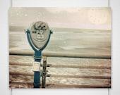 Dreamy Beach Photography / binoculars boardwalk bokeh summer / pale green pink wall art decor / 8x10 photograph print / 'What A View'